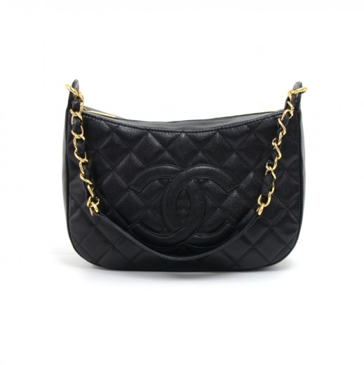 96fc5eb0e937 Chanel Chanel Black Quilted Caviar CC Logo Chain Shoulder Bag