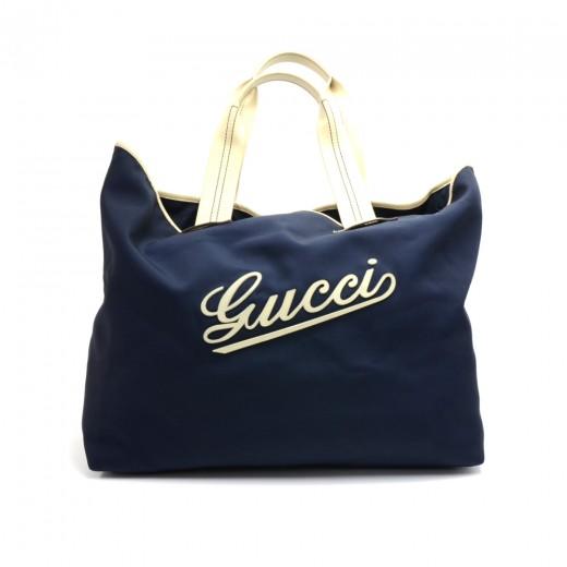 b390e7d0744f75 Gucci Gucci Navy Nylon Large Logo Tote Bag