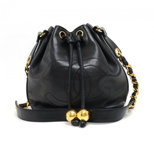 31d09d94ccca Chanel Vintage Chanel Black Lambskin Drawstring Bucket Bag + pouch