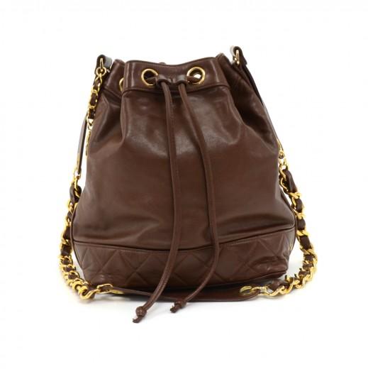 412791165b35 Chanel Vintage Chanel Brown Lambskin Leather Drawstring Bucket Bag + ...