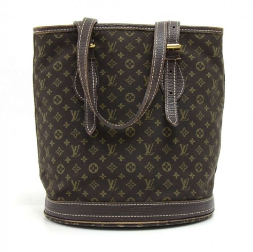 d1aee28a55f Louis Vuitton Bucket PM Dark Brown Mini Lin Monogram Canvas Shoulder Bag