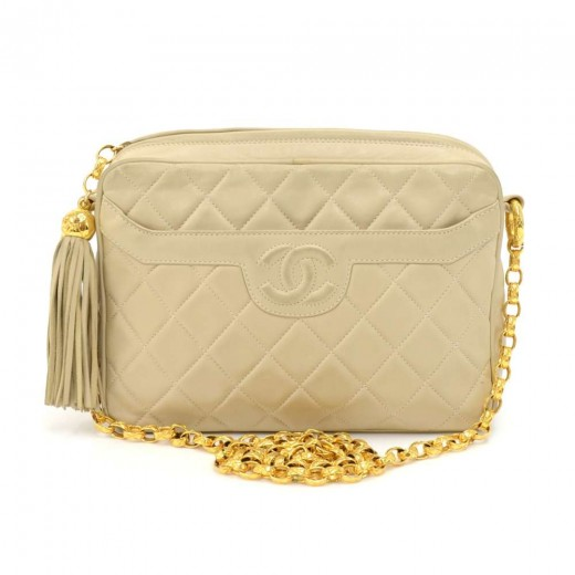 bad9341529447e Vintage Chanel Beige Quilted Lambskin Leather Tassel Chain Shoulder Bag