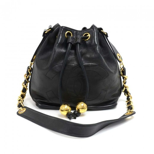 Chanel Vintage Chanel Black Lambskin Drawstring Bucket Bag + pouch a923340671