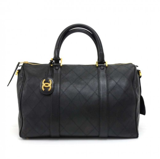284d98f665fd Chanel Vintage Chanel Boston Black Lambskin Quilted Duffle Bag