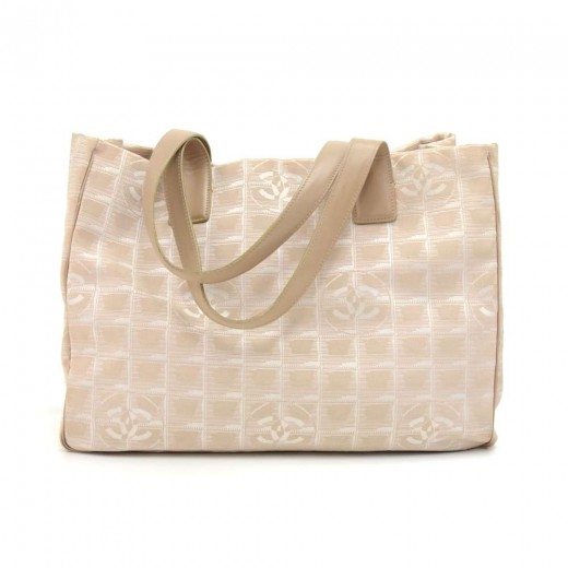 27113a4d7951 Chanel Chanel Travel Line Beige Jacquard Nylon Large Tote Bag