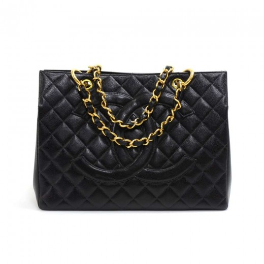 74f17d595a Chanel Vintage Chanel Black Quilted Caviar Leather Shopping Tote Bag