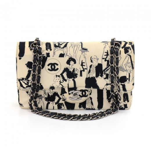 062db20d009894 Chanel Chanel 255 Double Flap White Karl Lagerfeld Sketch Shoulder