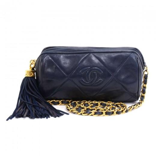 31aa2a906233 Chanel Vintage Chanel Navy Quilted Leather Barrel Shoulder Bag + ...