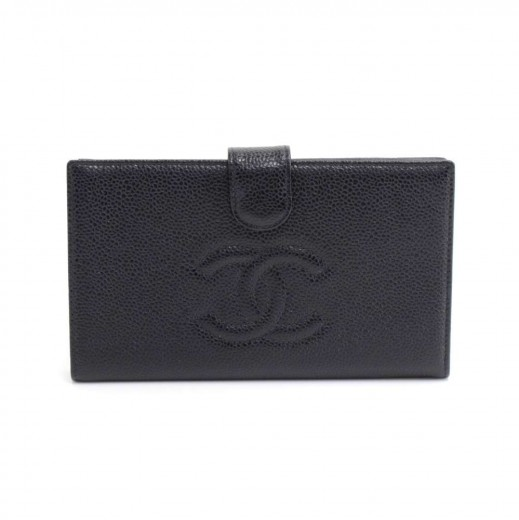 cc985c0c955c Chanel Chanel Black Caviar Leather CC Logo Long Wallet