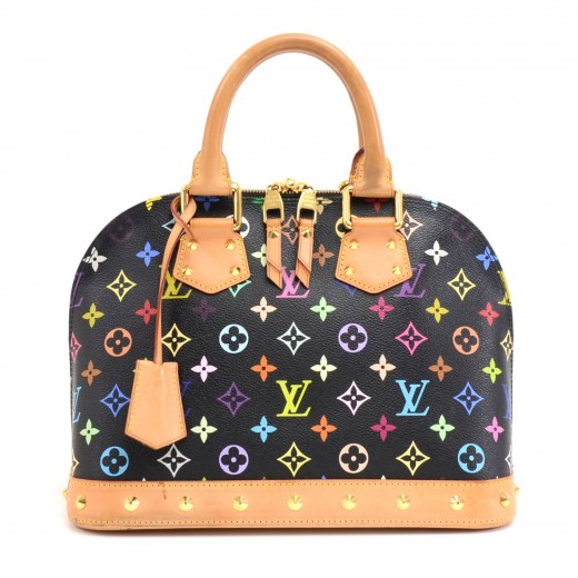 1279f2f21d41 Louis Vuitton Louis Vuitton Alma Black Multicolor Studded Monogram ...