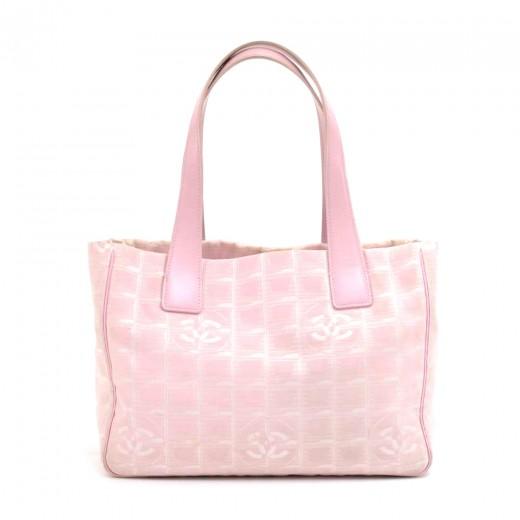 d5d07574182c9f Chanel Chanel Travel Line Light Pink Jacquard Nylon Small Tote Bag