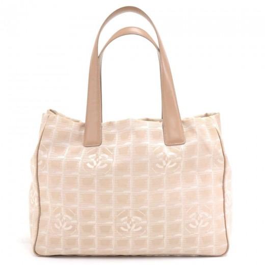 64634f679d0ab5 Chanel Chanel Travel Line Beige Jacquard Nylon Medium Tote Bag