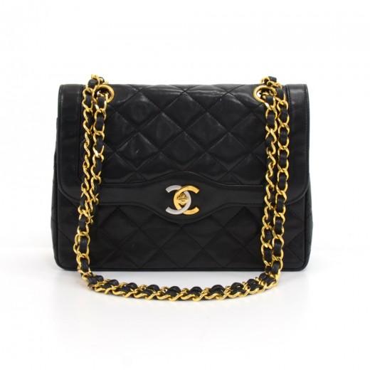 c66734e5da0b Vintage Chanel Double Flap Black Quilted Leather Paris Limited Shoulder Bag