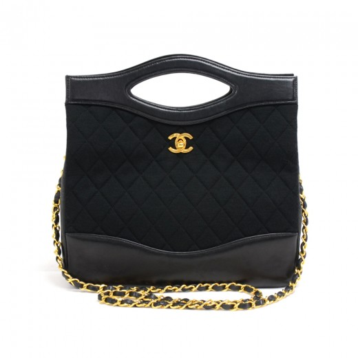 c7a4359facd395 Chanel Vintage Chanel Black Leather & Quilted Cotton 2 Way Bag