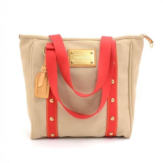 0851c0c5ea43 Louis Vuitton Louis Vuitton Cabas MM Beige x Red Antigua Canvas Tote ...