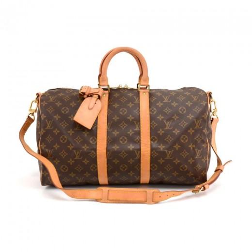 c6384e02867cd Louis Vuitton Keepall 45 Bandouliere Monogram Canvas Duffle Travel Bag +  Strap