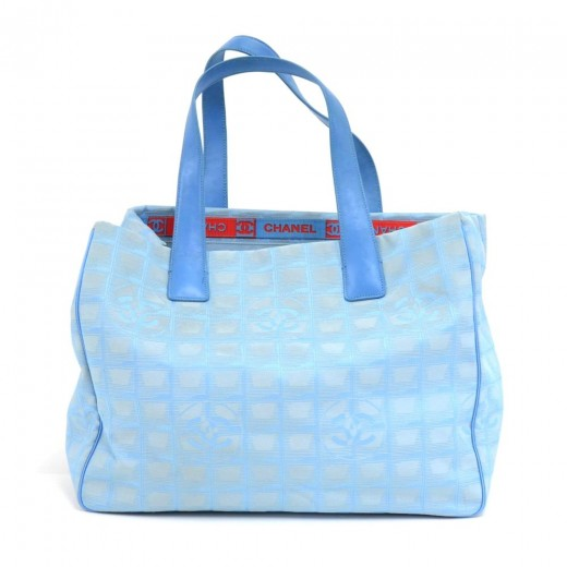 98167301e87283 Chanel Chanel Travel Line Light Blue Jacquard Nylon Medium Tote Bag