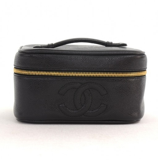 f5c904ae6a6d Chanel Vintage Chanel Black Caviar Leather Vanity Cosmetic Case Bag ...