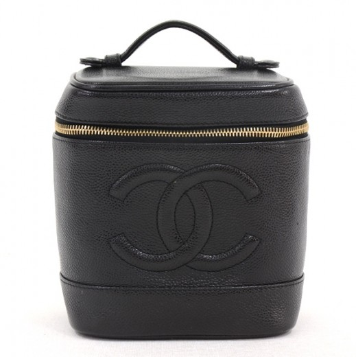 7a3fac7ec90b62 Chanel Chanel Black Caviar Leather Vanity Bag Cosmetic Case