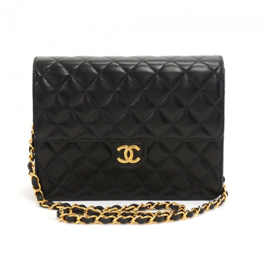 e3c27edfdfe4 Chanel Black Quilted Lambskin Leather Half Flap Chain Shoulder Bag Ex