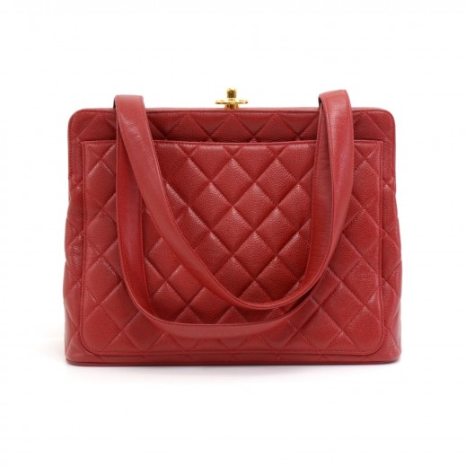 751acecb Chanel Vintage Chanel Red Quilted Caviar Leather Top Twistlock Purse ...