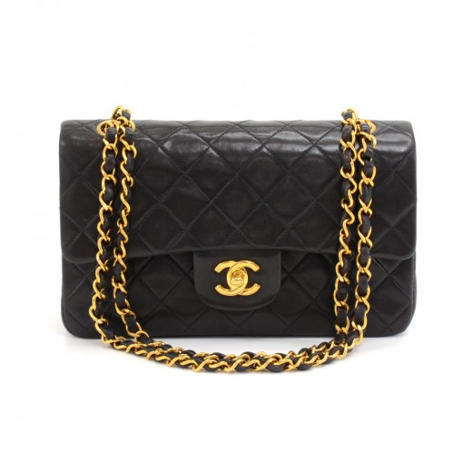 0c82c37d2ddb Vintage Chanel 2.55 Double Flap Black Quilted Leather Shoulder Bag