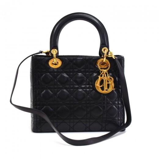 Dior Christian Dior Lady Dior Black Cannage Quilted Lambskin Handbag ... 12b0cbe1d7ef4