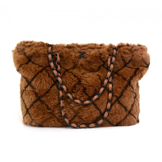 c0fe84f43a94 Chanel Chanel Lapin Fur Brown Criss Cross Pattern Chain Tote Bag