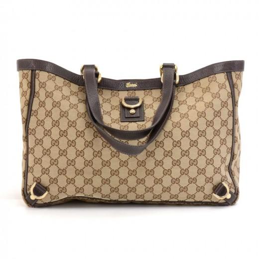 f02b4418c3b424 Gucci Gucci GG Supreme Canvas & Brown Leather Tote Bag