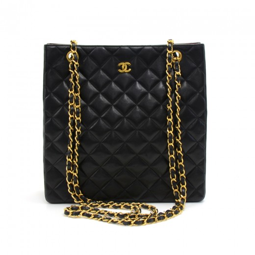 fcb00b663a2bfb Vintage Chanel Black Quilted Lambskin Leather Tall Chain Shoulder Bag