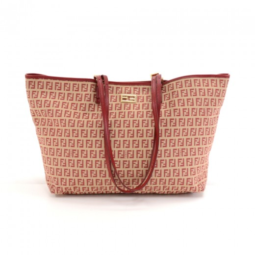 cf0ed1708c0c9 FENDI Vintage Fendi Zucca Red Monogram Canvas Roll Tote Bag