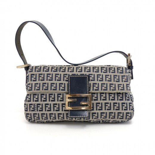 9954fbfd1c FENDI Fendi Zucca Baguette Navy Monogram Canvas Shoulder Bag