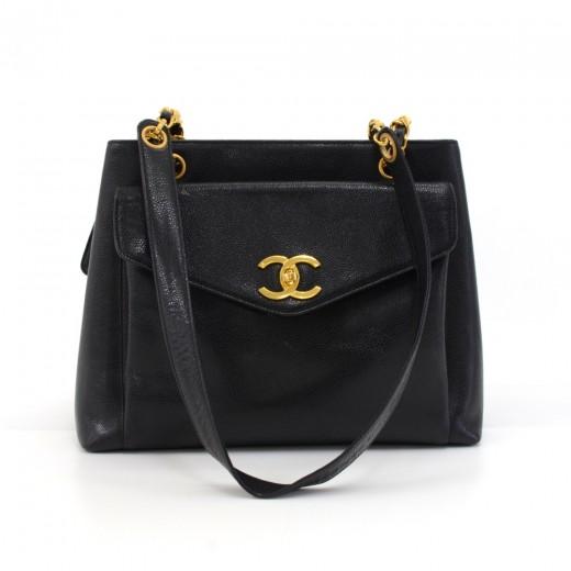 5e4c7d0a48d7 Vintage Chanel Black Caviar Leather Front Envelope Pocket Chain Shoulder Bag