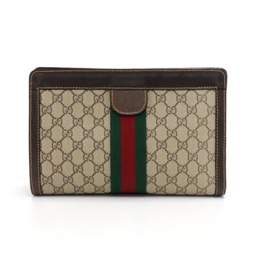 cacf6f1adaf Gucci Vintage Gucci Gucci Parfums GG Supreme Canvas Clutch Bag