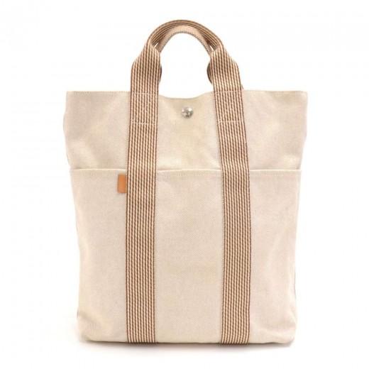 ae452dc2d6d4 Hermes Hermes Fourre Tout Beige   Brown Canvas Triple Pocket Tote Bag