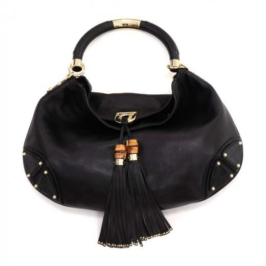 85eb2d899c495d Gucci Gucci Babouska Indy Black Leather Bamboo Tassel Large Hobo Bag
