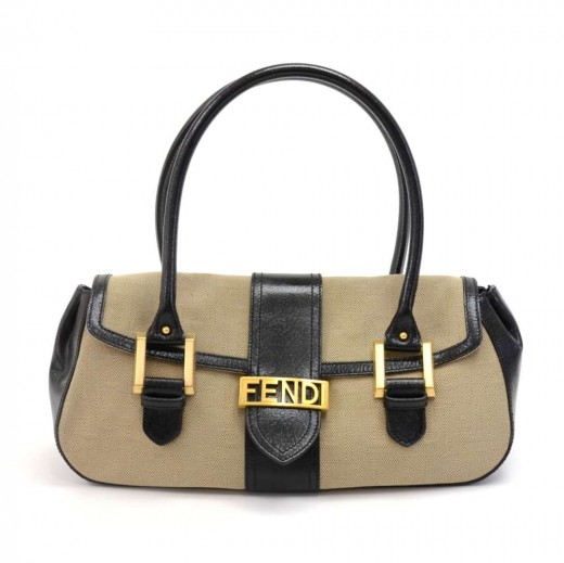 c7b3a88c34 FENDI Fendi Tan Zucca Monogram Canvas   Black Leather Flap Shoulder ...