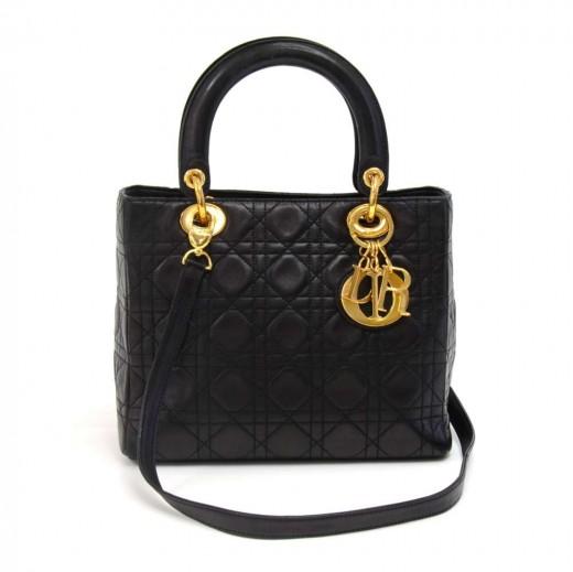 Dior Christian Dior Lady Dior Black Cannage Quilted Lambskin Handbag ... 83a7f0cb42c96