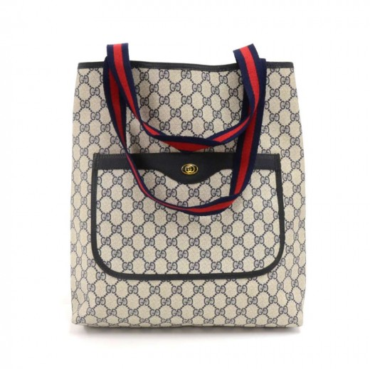 8ba9ff552d69 Vintage Gucci Accessory Collection Blue GG Supreme Monogram Coated Canvas  Shopper Tote Bag
