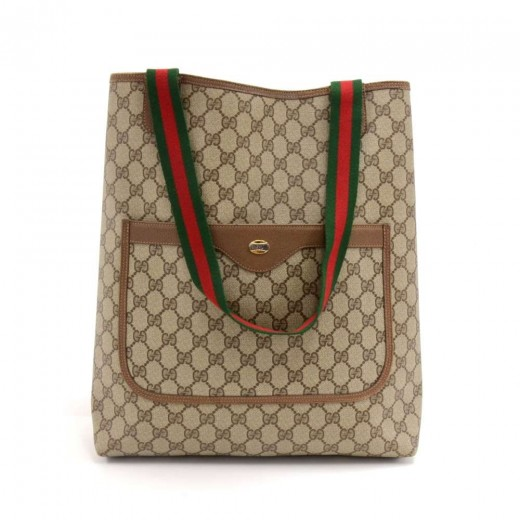 459e250a9e Vintage Gucci Accessory Collection Brown GG Supreme Monogram Coated Canvas  Shopping Tote Bag