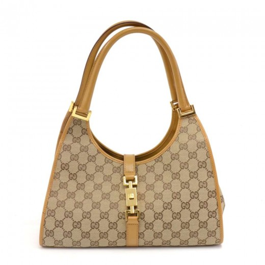 f4a5ba541686 Gucci Bardot GG Supreme Monogram Canvas & Light Brown Leather Shoulder Bag
