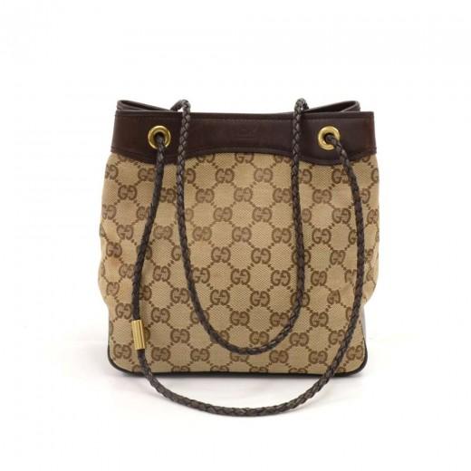 c4e1c6080 Gucci GG Supreme Monogram Canvas & Brown Braided Leather Strap Shoulder Bag