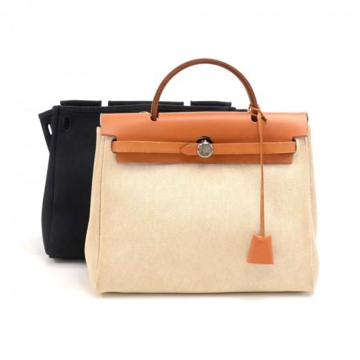 e1fc735e1e4c Hermes Herbag Zip PM 2 in 1 Beige x Black Canvas   Brown Leather Handbag.