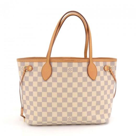 d93798e2126 Louis Vuitton Louis Vuitton Neverfull PM White Damier Azur Canvas ...