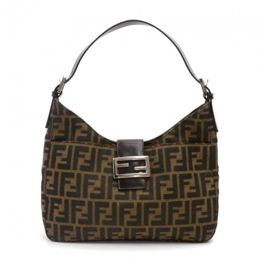 ae7c301ed5f7 FENDI Fendi Tobacco Zucca Monogram Canvas   Brown Leather Small Hobo ...