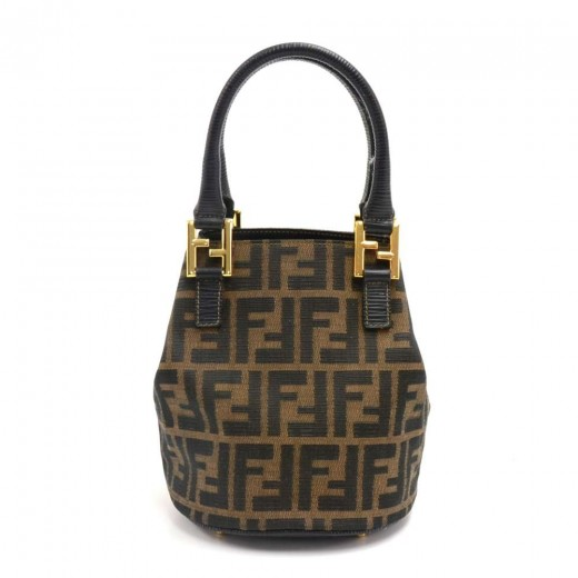 a149f4b3f6bb0 FENDI Vintage Fendi Tobacco Zucca Monogram Canvas Mini Bucket Bag