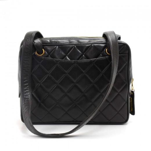 7034fdaff82390 Vintage Chanel Black Quilted Lambskin Leather Double Pocket Shoulder Bag