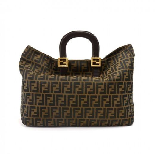 d0ec84f6aa08 Vintage Fendi Tobacco Zucca Monogram Canvas & Brown Leather Large Top  Handle Handbag