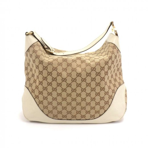 879e1d0d638 Gucci Gucci Beige GG Monogram Canvas x White leather Hobo Bag