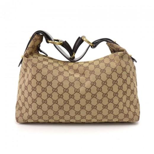 61ee089e40a7b7 Gucci Gucci GG Monogram Canvas Horsebit Strap Hobo Bag